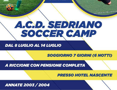 Sono aperte le iscrizioni per il Sedriano Soccer Camp che si terrà a Riccione a partire dal 16 Giugno! Per info e iscrizioni scrivi a soccercamp@acdsedriano.it